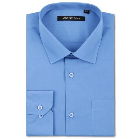 Verno Men's Light Blue Fashion Fit Dress Shirt