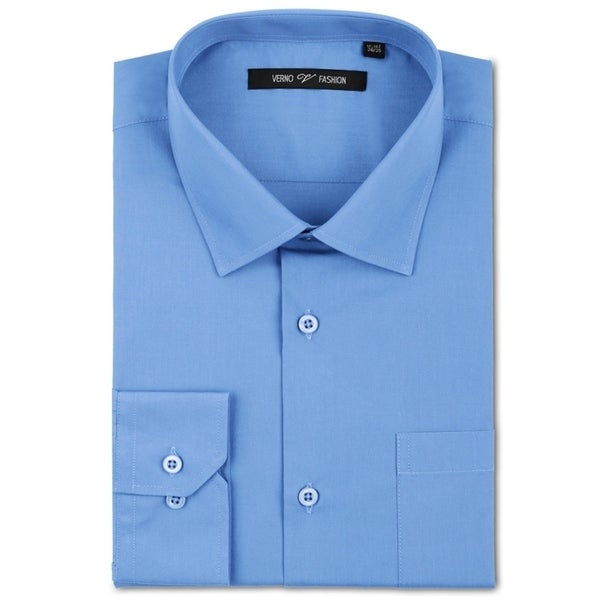 5531165a9a2 Shop Verno Men s Light Blue Fashion Fit Dress Shirt - Free Shipping ...