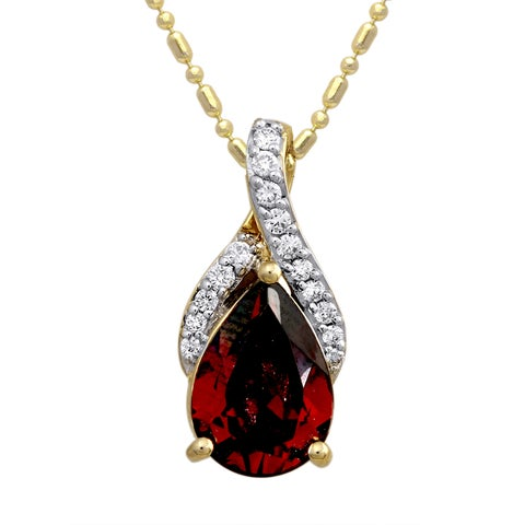 14k Yellow Gold 1/10ct TDW Diamond and Red Garnet Necklace (H-I, SI2-I1)