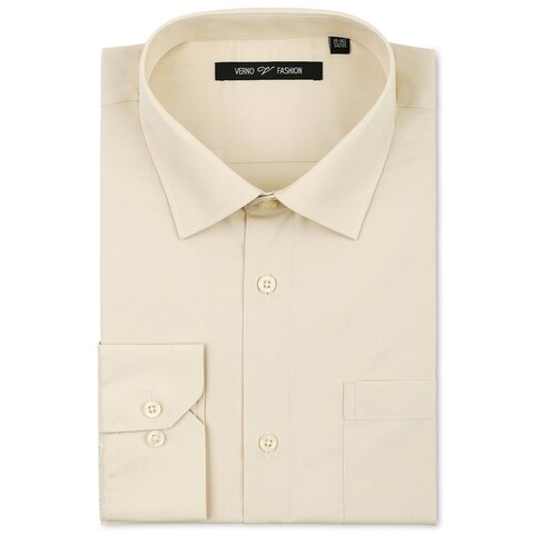 Verno Men's Classic Fashion Fit Taupe Cotton/Polyester Dress Shirt