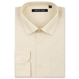 Verno Men's Taupe Classic Fashion Fit Dress Shirt (Option: 20)