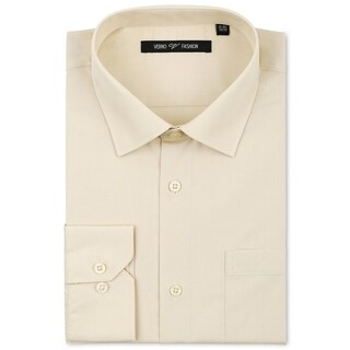 Verno Men's Taupe Classic Fashion Fit Dress Shirt