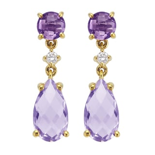 Beverly Hills Charm 14k Yellow Gold 1/25ct TDW Diamond and Pink Amethyst Dangling Drop Earrings (H-I, SI2-I1)