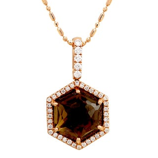 Beverly Hills Charm 14k Rose Gold 1/4ct TDW Diamond and Smokey Quartz Necklace (H-I, SI2-I1)