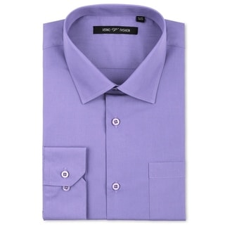 Verno Luxton Men's Lavender Classic Fashion Fit Dress Shirt