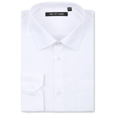 Verno Men's White Fashion Fit Cotton Dress Shirt