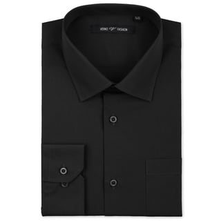 Verno Luxton Men's Black Classic Fashion Fit Dress Shirt