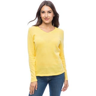 Dolores Piscotta Women's Cotton Long-sleeve V-neck Shirt|https://ak1.ostkcdn.com/images/products/11528428/P18476264.jpg?impolicy=medium
