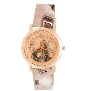 JWI Womens Tower Bridge Faux Leather Watch
