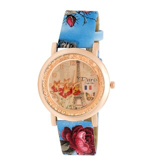 JWI Womens Eifel Tower and Floral Faux Leather Watch
