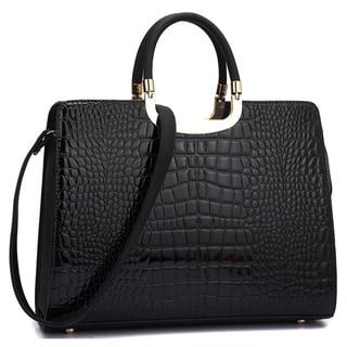 Dasein Patent Croco Satchel Briefcase Handbag with Bonus Shoulder Strap