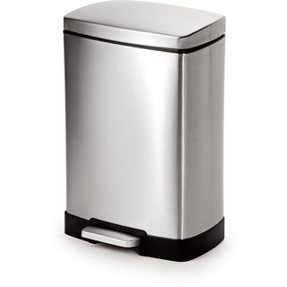 Joyware 12 Liter Rectangle Shape Step-on Stainless Steel Trash Can