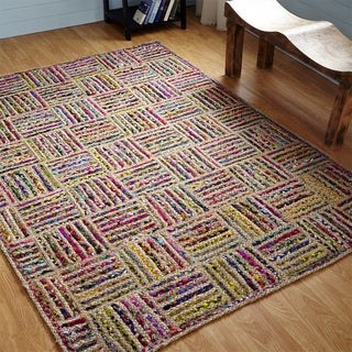 Better Trends Criss-cross Rectangle Jute Braided Rug (5' x 7')