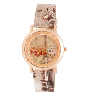 JWI Women's Eiffel Tower and Floral Faux Leather Watch