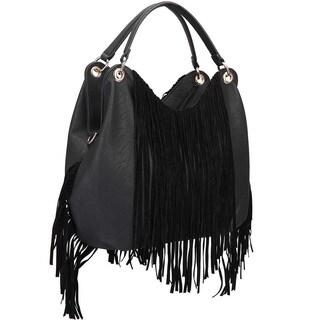 Dasein Fringe Studded Hobo Handbag