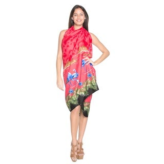 La Leela Women Likre Flamingo Mountains Sarong Cover up Pareo 88X39 Inch Red