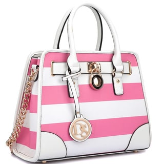 Dasein Stripe Medium Satchel Handbag with Shoulder Strap