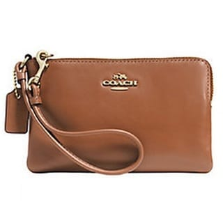 Coach Smooth Leather Brown Corner Zip Wristlet