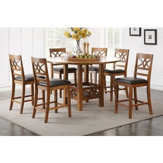 Sogne 7-Piece Counter Height Dining Set in Brown Finish