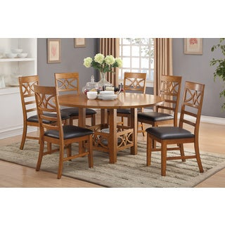 Honefoss 7 Piece Dining Set in Brown Finish