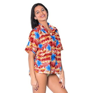 La Leela Women's Red and Blue Shoe Floral Likre Beachwear Short Sleeve Shirt