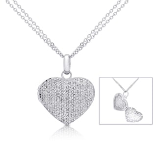 Finesque Silver Overlay 1ct TDW Pave Diamond Heart Locket Necklace