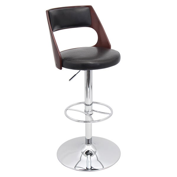 Presta Mid-century Modern Adjustable Cherry Wood Barstool