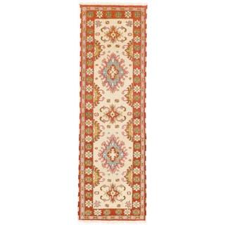 ecarpetgallery Hand-knotted Royal Kazak Beige/ Brown Wool Rug (2'8 x 8'5)