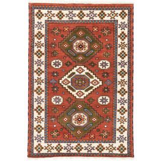 ecarpetgallery Hand-knotted Royal Kazak Beige/ Orange Wool Rug (4'2 x 5'11)