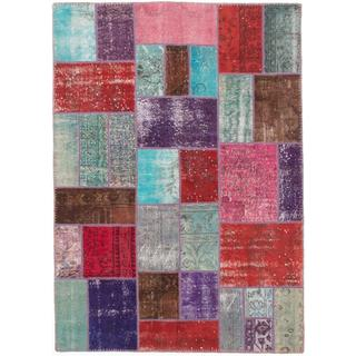 ecarpetgallery Hand-knotted Color Transition Patch Green/ Red Wool Rug (4'9 x 6'9)