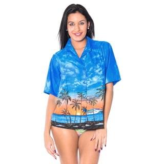 La Leela Women's Cruise Camp Blue Likre Cloudy Island View Camp Casual Shirt
