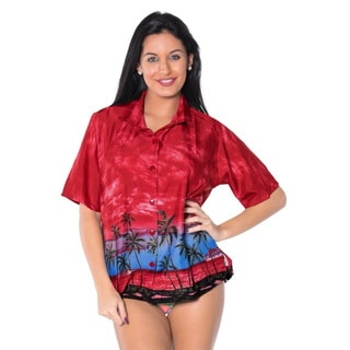 La Leela Women's Royal Red Geo Hawaiian Shirt