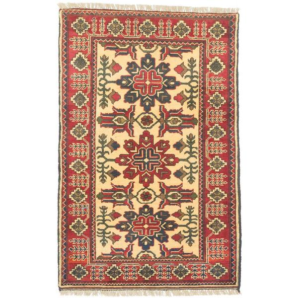 ecarpetgallery Hand-knotted Finest Kargahi Red/ Yellow Wool Rug (2'7 x 4')