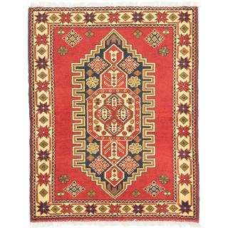 ecarpetgallery Hand-knotted Finest Kargahi Red Wool Rug (3'1 x 3'10)