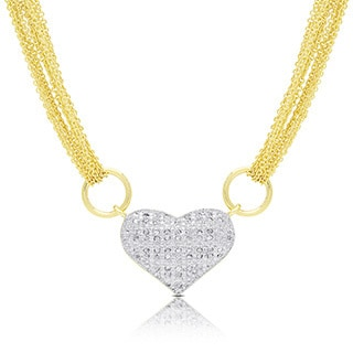 Finesque Gold or Silver Overlay 1/2ct TDW Diamond Multi Chain Heart Necklace