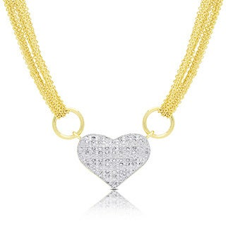 Finesque Gold or Silver Overlay 1/2ct TDW Diamond Multi Chain Heart Necklace (I-J, I2-I3)