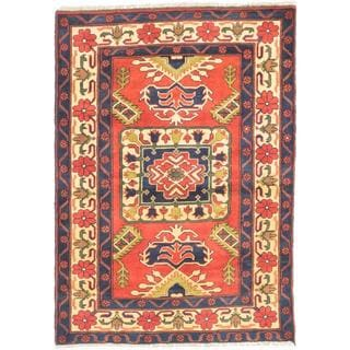 ecarpetgallery Hand-knotted Finest Kargahi Red/ Yellow Wool Rug (3'6 x 4'10)