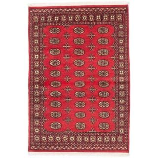 ecarpetgallery Hand-knotted Finest Peshawar Bokhara Red Wool Rug (4'3 x 6'2)