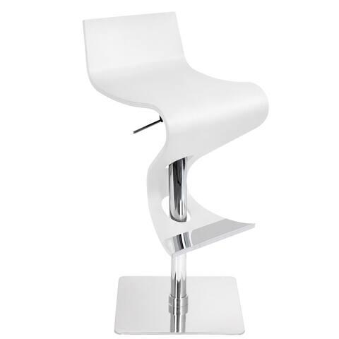 Viva Contemporary White Wood Adjustable Barstool
