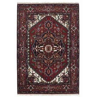 ecarpetgallery Hand-knotted Serapi Heritage Red Wool Rug (4' x 5'11)