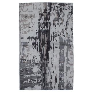 ecarpetgallery Hand-knotted Jules Ushak Grey Art Silk Rug (5' x 8'2)