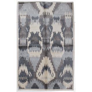 ecarpetgallery Hand-knotted Jules Ushak Beige/ Grey Art Silk Rug (5'1 x 8')