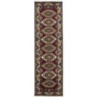 ecarpetgallery Hand-knotted Royal Kazak Beige/ Red Wool Rug (2'10 x 10'1)