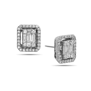 18k White Gold 5/8ct TDW Round and Baguette-cut Diamond Halo Stud Earrings (F-H, SI1-SI2)