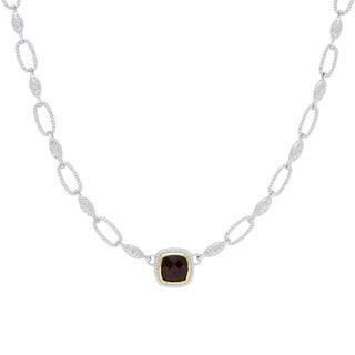 Dolce Giavonna Silver Overlay Cushion-Cut Garnet Necklace