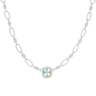 Dolce Giavonna Silver Overlay Cushion-Cut Blue Topaz Necklace