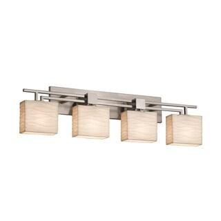 Justice Design Group Porcelina Aero 4-light Brushed Nickel Bath Bar, Waves Rectangle Shade