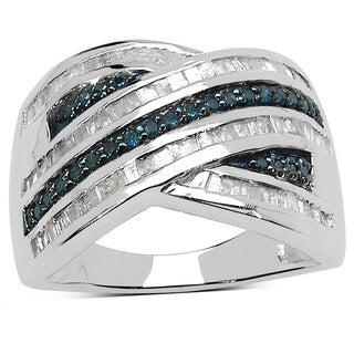 Malaika Sterling Silver 3/4ct TDW White Diamond Blue Diamond Ring ( I-J, I2-I3)