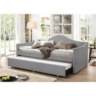 baxton studio psykhe modern contemporary beige or grey fabric upholstered arch back sofa daybed with roll