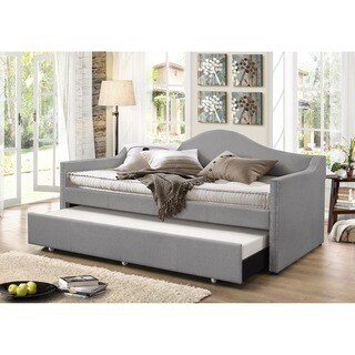 Baxton Studio Psykhe Modern Contemporary Beige or Grey Fabric Upholstered Arch Back Sofa Daybed with Roll-out Trundle Guest Bed